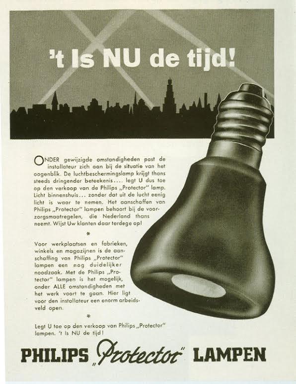Reclameposter van Philips Protector-verduisteringslampen. Bron: http://www.pa3esy.nl/oudershuis/bevrijding/html/bevrijding_set.html