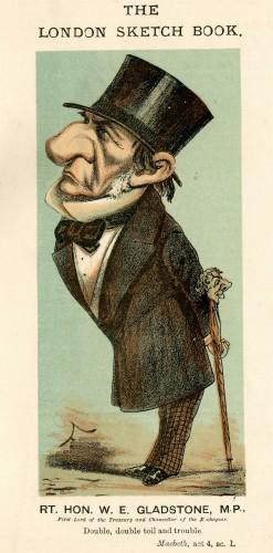 Karikatuur van William Gladstone in het blad Punch