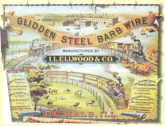 Advertentie van Ellwood en Glidden, ca.1880
