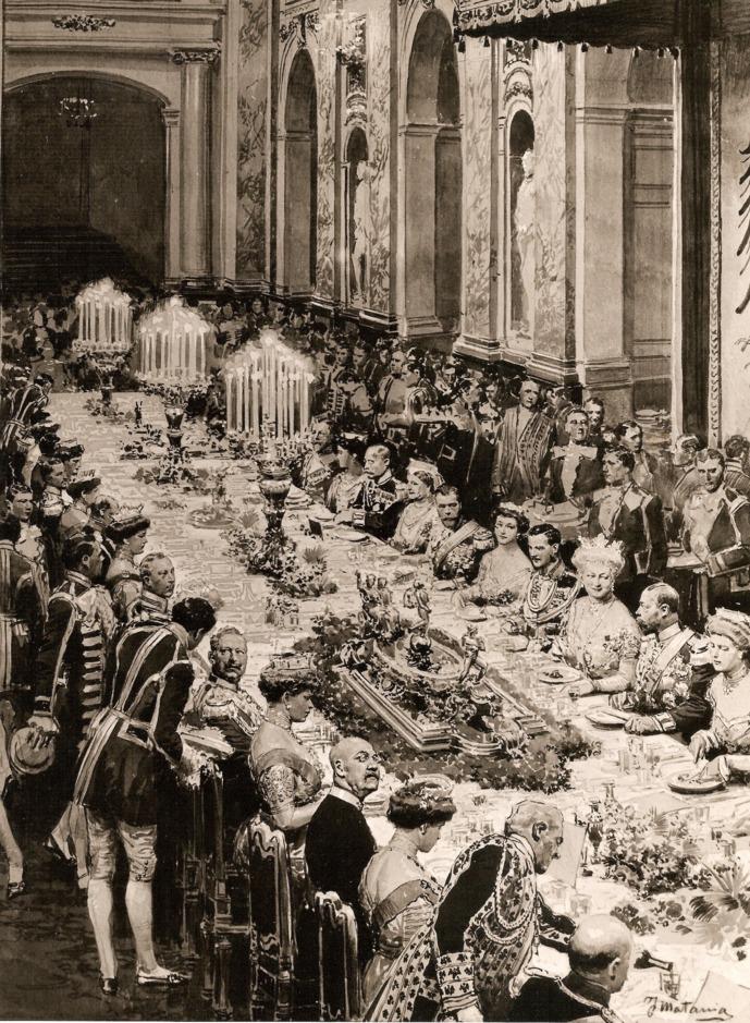 Diner t.g.v. het huwelijk van de dochter van keizer Wilhelm II - 1913, J. Matania. Foto Huis Doorn