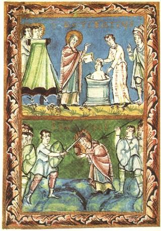 Dood van Bonifatius (Sacramentarium van Fulda, ca. 975)