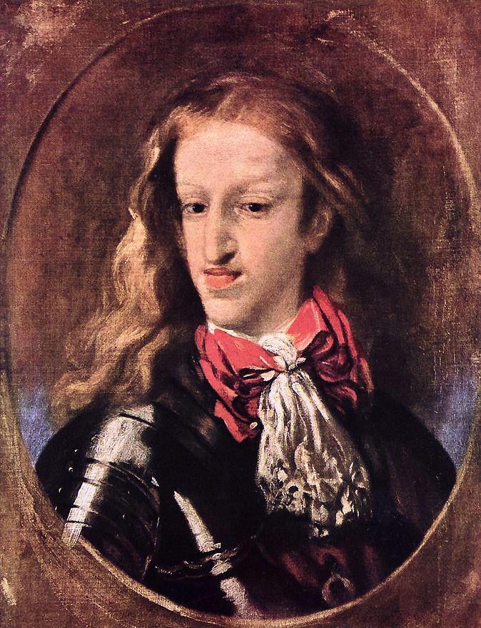 Karel II in zijn twintiger jaren, een schilderij van Luca Giordano