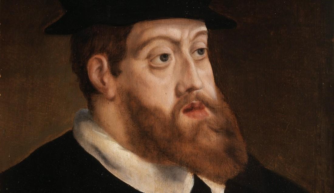 Portret van Karel V waarop duidelijk te zien is hoe zijn kin naar voren stak