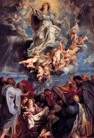 Tenhemelopneming van de Goddelijke en Heilige Maagd Maria olieschets; een ontwerp voor een altaarstuk (Peter Paul Rubens)