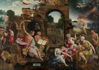 Vliegende heksen op een schilderij uit 1526: 'Saul bij de heks van Endor' (Jacob van Oostsanen).