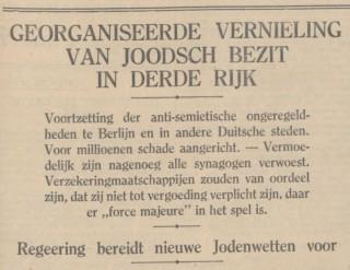 Kop van het Algemeen Handelsblad van 11 november 1938 (Delpher)