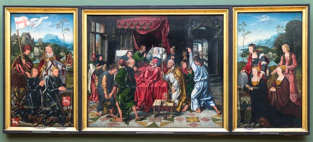 Joos van Cleve, De dood van Maria, ca. 1515, Werk dat lange tijd aan een anonieme meester werd toegeschreven, Alte Pinakothek München