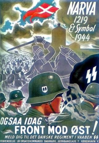 Deense Waffen SS-poster over Slag om de Narva, 1944. Bron: Pinterest