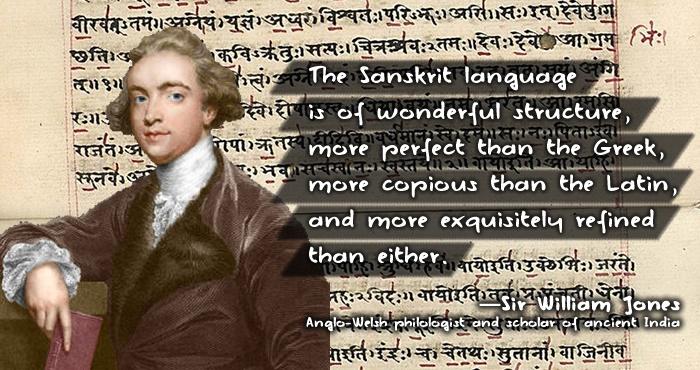 Citaat van William Jones over het Sanskriet. Bron: http://navrangindia.blogspot.nl/