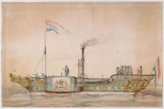 """Raderstoomschip """"Leeuw"""". Bron: Scheepvaartmuseum Amsterdam"""