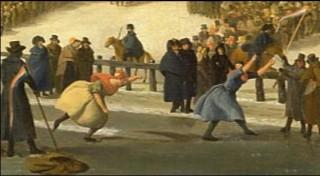 Houkje Gerrits Bouma wint de tweedaagse vrouwenwedstrijd in Leeuwarden in 1809. (Detail uit olieverfschilderij van Nicolaas Bauer - collectie Rijksmuseum); niet in het boek.
