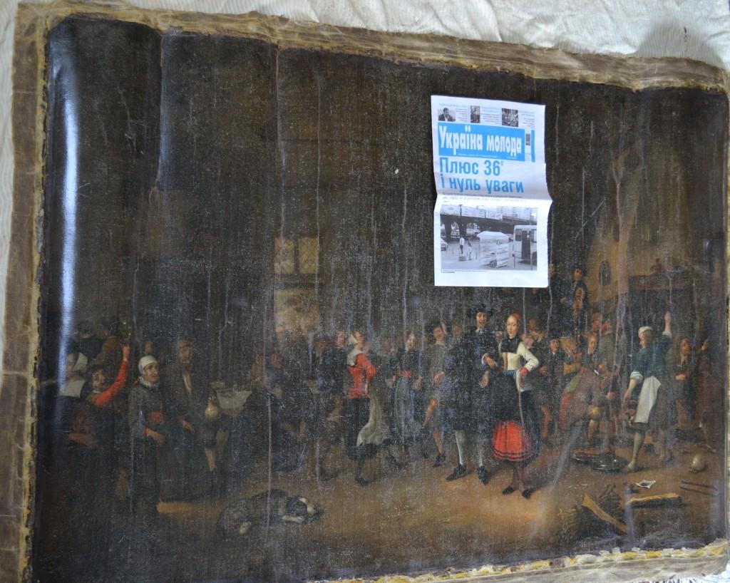 Gestolen schilderij van Matthias Withoos met daarop een krant uit de Oekraïne (WFM)