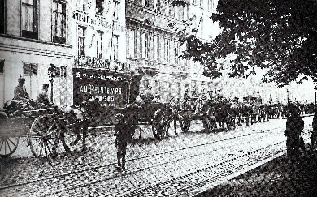 Duitse troepen in Brussel aan het begin van de Eerste Wereldoorlog