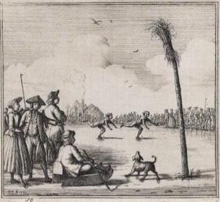 Hardrijden op de schaats in 1765. Ets en gravure van Rienk Jelgersma.