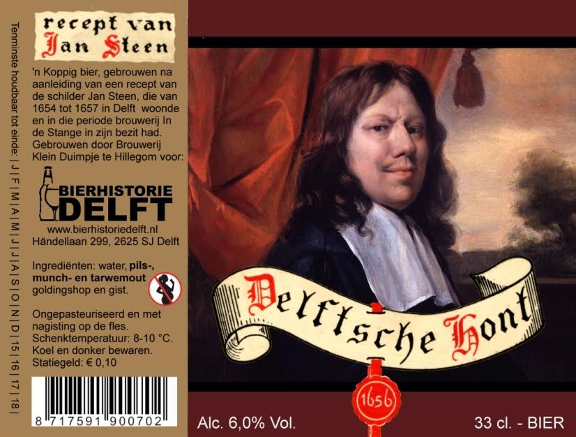 """In Delft wordt nog steeds bier verkocht, """"Delftsche Hont"""", naar het recept van Jan Steen. Advertentie uit 2015. Bron: www.bier-evenementen.nl"""