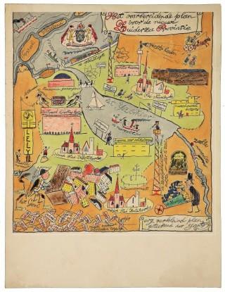 In de jaren dertig maakte Felix Isidor Hess deze satirische tekening van het Zuiderzeeproject voor De Groene Amsterdammer. De trein over de Afsluitdijk ontbreekt niet.