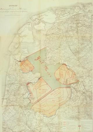 Het plan-Lely, waarop het tracé van de spoorlijn over de Afsluitdijk is aangegeven.