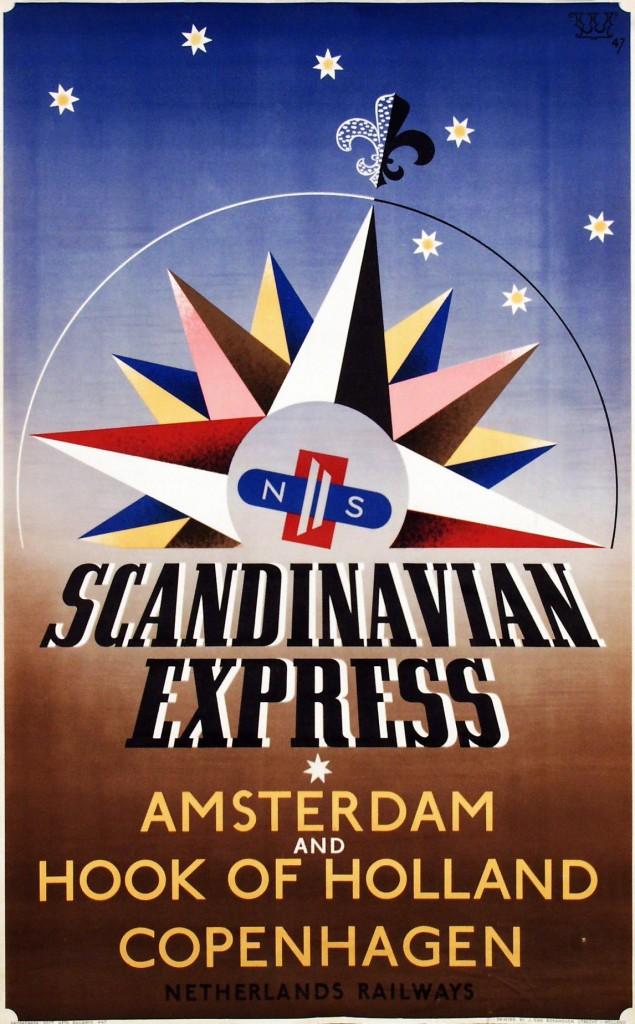 Affiche Scandinavian Express, Fedde Weidema, 1947 (coll. Arjan den Boer)