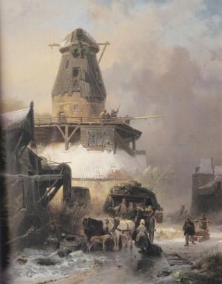 'De oude molen in de winter' (1838). Schilderij van Wijnand Nuijen, leerling van Andreas Schelfhout.
