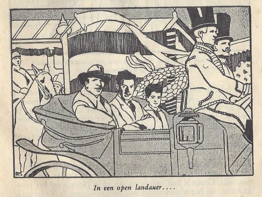 Illustratie uit het kinderboek De verstekeling, uitgegeven door Liga. Sjef van Dongen (midden) maakte na zijn terugkomst in Nederland reclame voor onder andere beschuit van Liga.