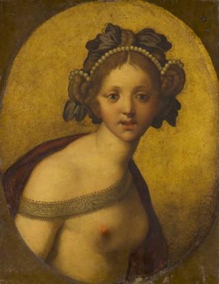 Anoniem (Italië) - Vrouwelijke figuur (Een godin?), c.1500-1550? - Mauritshuis, Den Haag