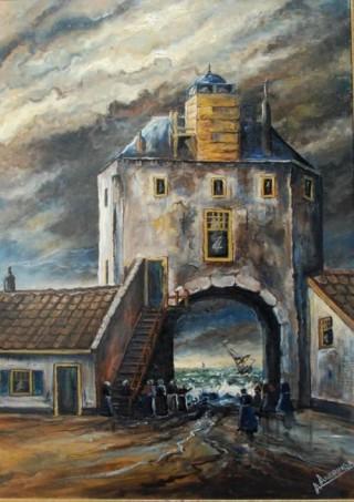 De zee kolkt door de havenpoort van Harderwijk op 13 januari 1916. Olieverfschilderij. Maker onbekend.
