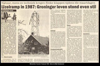 De ijzelramp van 1987 in de Winschoter Courant van 16 januari 1995 (Verzameling Anton de Wijk, Stadskanaal)