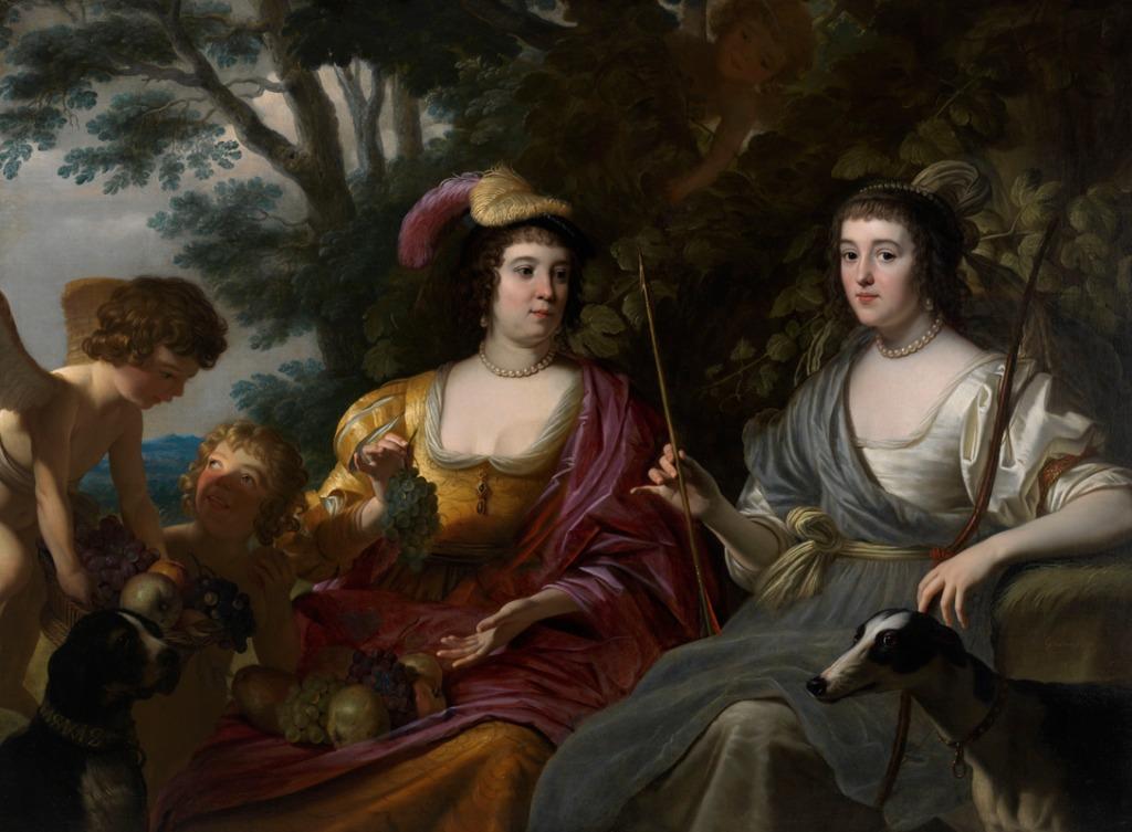 Portret van Amalia van Solms en Charlotte de la Trémoïlle - Gerard van Honthorst (Paleis Het Loo)