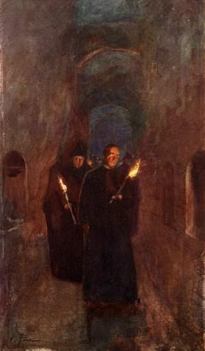 Processie in de Catacomben van Sint-Calixtus