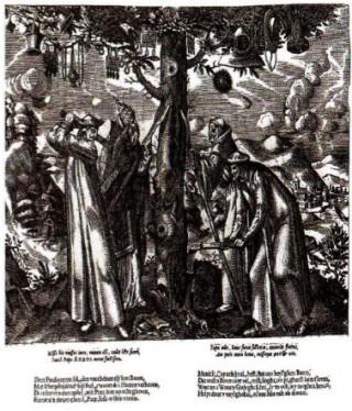 Op bevel van missionarissen, die de 'nieuwe godsdienst' vertegenwoordigden, werden heidense symbolen, zoals hier een heilige boom, vernietigd. (Gravure 16e/17e eeuw)
