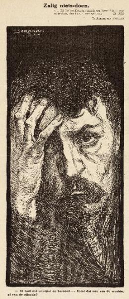 Zalig niets-doen. Tekening van Jordaan uit 1915; bron: Geheugen van Nederland
