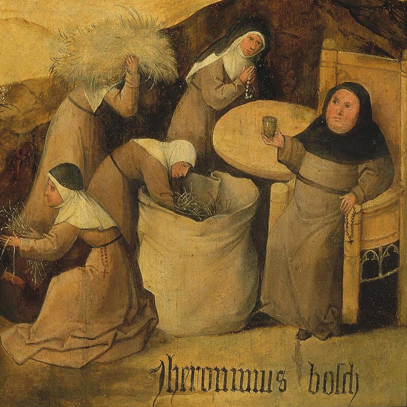 Detail van het schilderij De Hooiwagen van Jeroen Bosch