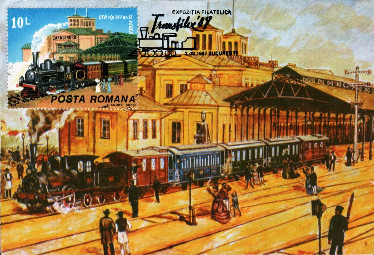Ansichtkaart en herdenkingspostzegel Orient-Express in Boekarest, 1987