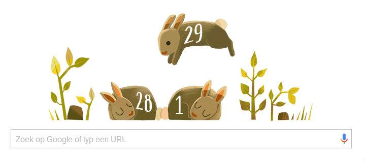 Google Doodle ter gelegenheid van Schrikkeldag