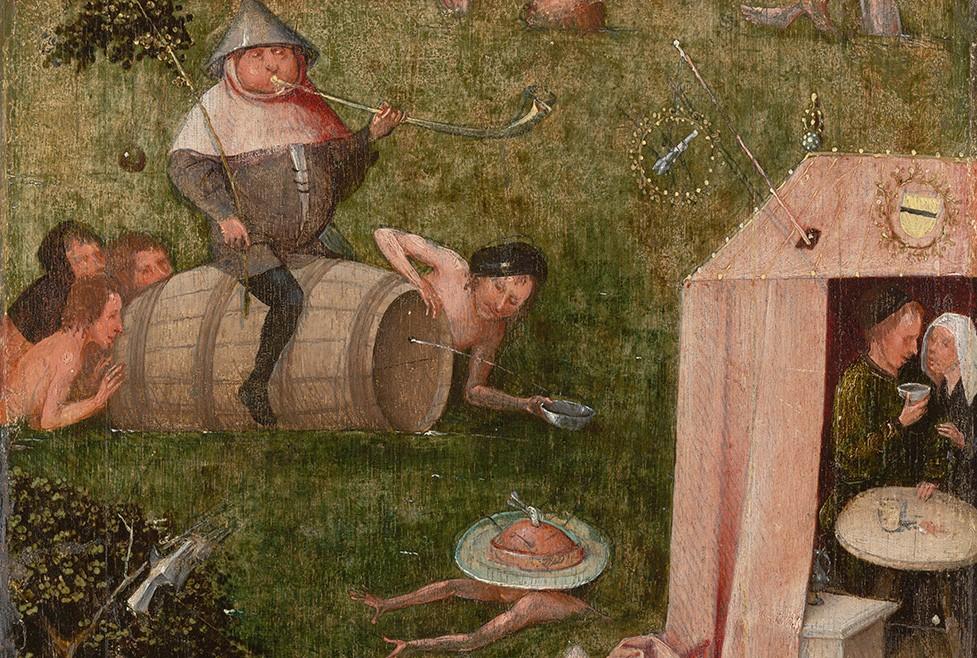 Gulzigheid en lust (fragment van Het Narrenschip), ca. 1500-10, New Haven (USA), Yale University Art Gallery. Foto Rik Klein Gotink en beeldverwerking Robert G. Erdmann voor het Bosch Research and Conservation project. Met speciale medewerking van Museo Nacional del Prado.
