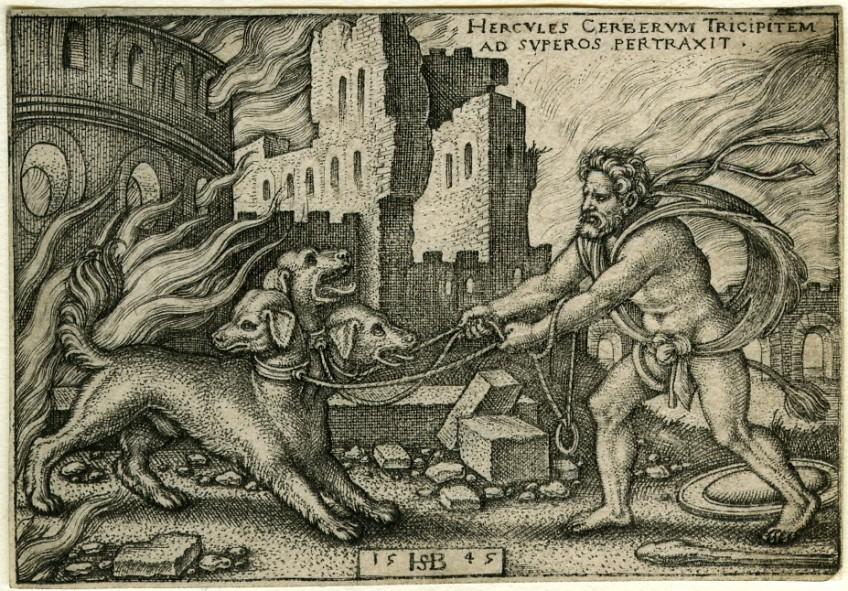 Herakles vangt Cerberus - Gravure van Sebald Beham, 1540.