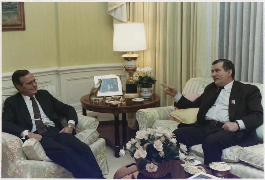 Lech Walesa en president Bush, 14 november 1989 (US Archives)