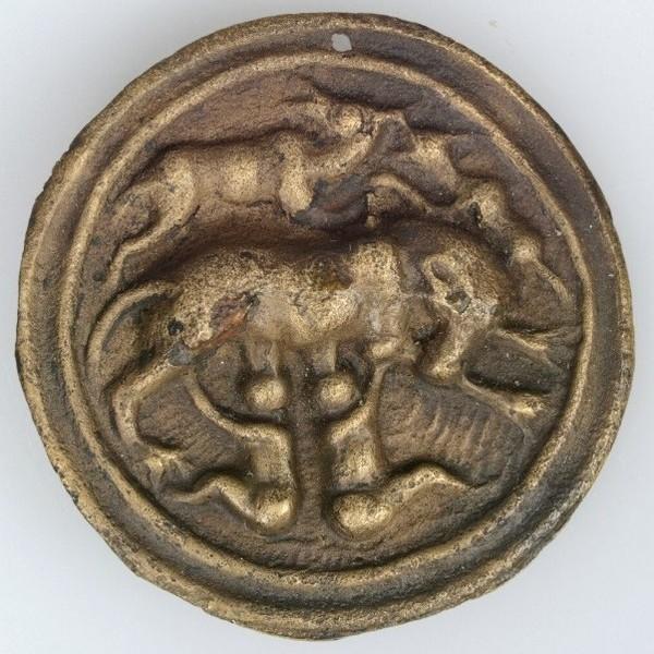 Medaille met Romulus en Remus uit Velsen (Huis van Hilde)