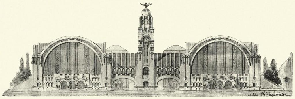 Ontwerp Boekarest Centraal door Victor Ștefănescu, 1911