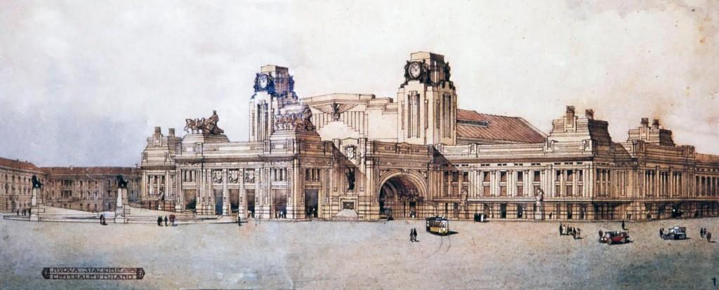 Ontwerp Milano Centrale door Ulisse Stacchini, 1912