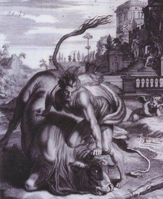 Herakles doodt de stier van Kreta (Publiek Domein - wiki)