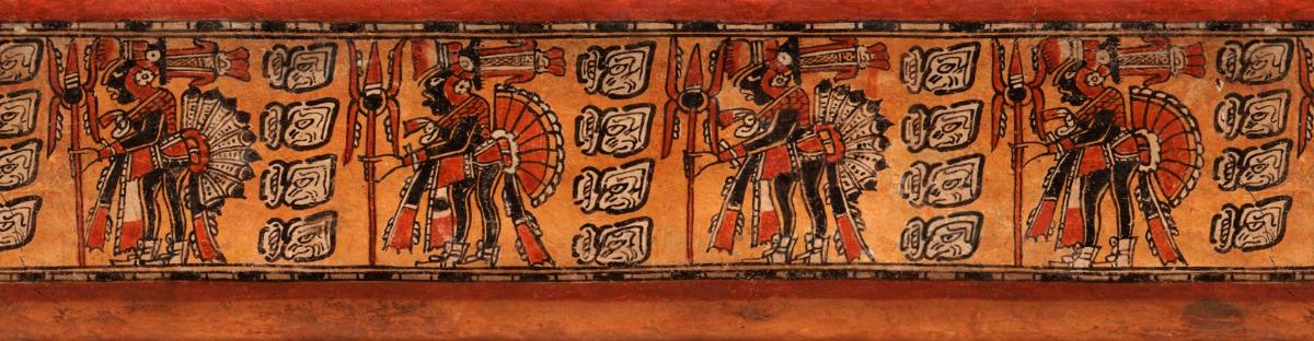 Rollout van een vaas met 4 krijgers, 600 - 900 na Christus, keramiek, collectie: Fundación La Ruta Maya, Guatemala