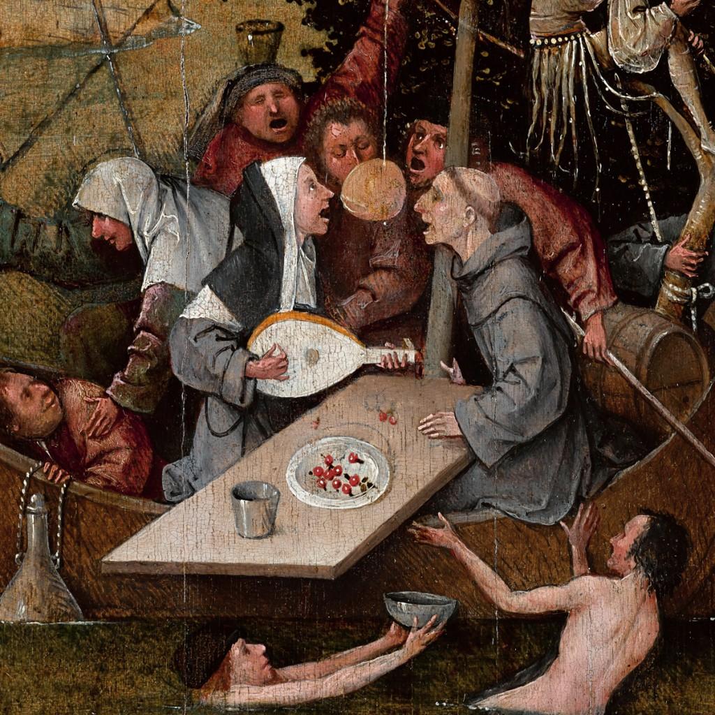Detail van het schilderij Het Narrenschip van Jeroen Bosch