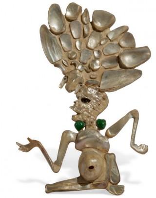 Mozaïek van de god van de dood, 600–800 na Chr., parelmoer/jade, Museo Nacional de Arqueología y Etnología, Guatemala