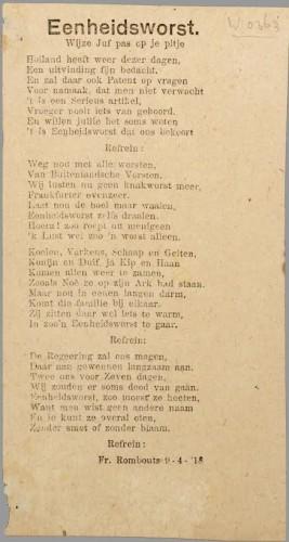 Liedje over eenheidsworst. Bron: geheugenvannederland.nl