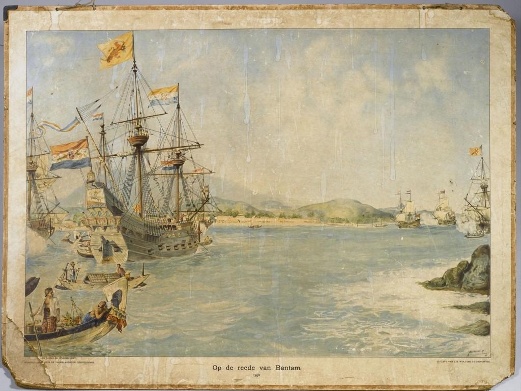 Schoolplaat met voorstelling van een aantal Nederlandse schepen bij Bantam. - J.H. Isings (Geheugen van Nederland)
