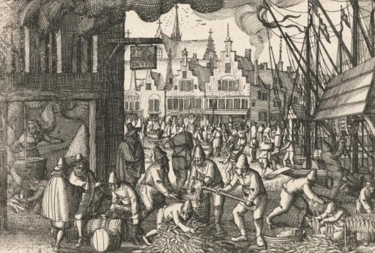 Het pakken, roken en kaken van haring. (Tekening ca. 1600: Rijksmuseum)