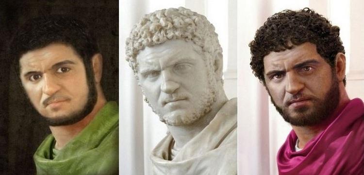 Driemaal Caracalla: middenin het origineel in het Louvre, links de reconstructie door Marga van den Heuvel, rechts door Rocío Espin.