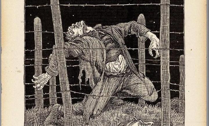 Albert Hahn, prent over 'dodendraad'. Bron: De Notenkraker (24 juli 1915) / cc Wikimedia
