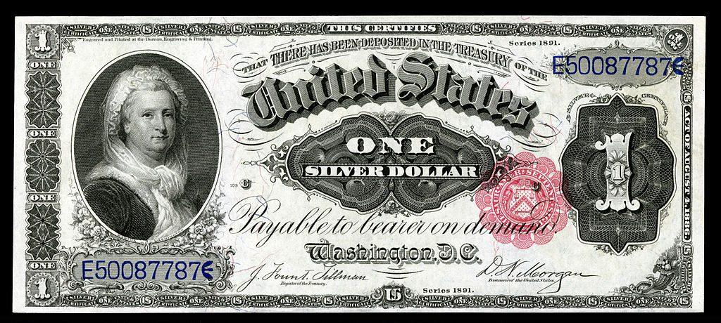Bankbiljet met daarop de beeltenis van Martha Washington